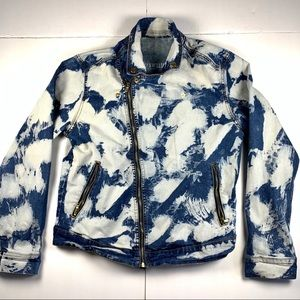 Denim Bleached Jacket Womens Size Large